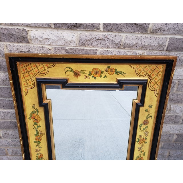 Boho Chic Vintage Italian Hand Painted Mirror For Sale - Image 3 of 13