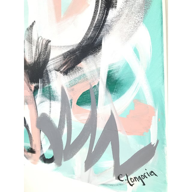 """Abstract Christina Longoria """"Graffiti on a Wednesday"""" Abstract Painting For Sale - Image 3 of 4"""