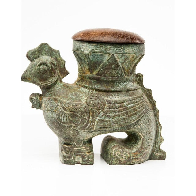 Gold Lawrence & Scott Verdigris Bronze Rooster Box For Sale - Image 8 of 8