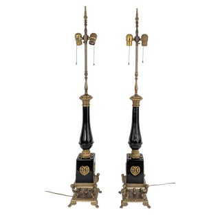 1970s Vintage French Empire Style Black and Gold Lamps - a Pair For Sale