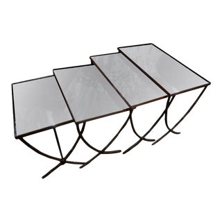 Maison Baguès Style Brass Nesting Tables With Mirrored Tops-Set of 4 For Sale