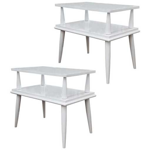 Mid-Century Tiered Tables - A Pair - Image 1 of 6