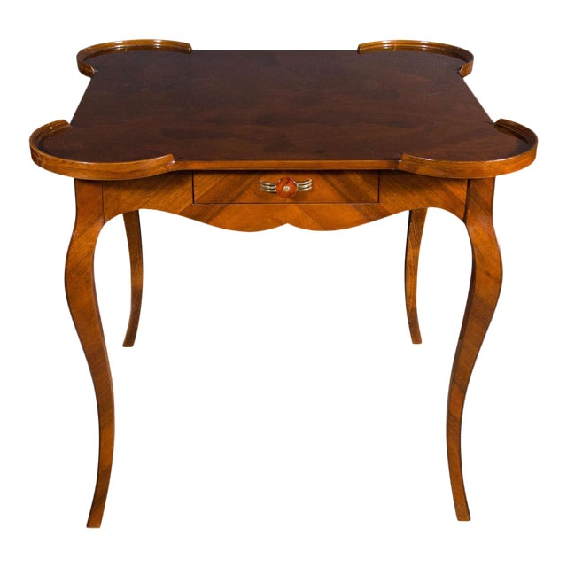 Exceptional Art Deco Game Table With Exotic Burled Walnut Inlay For Sale