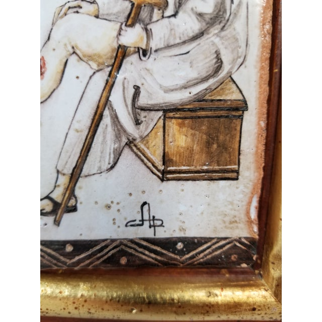 Gothic Handpainted Italian Il Medico Framed Tile For Sale - Image 3 of 5