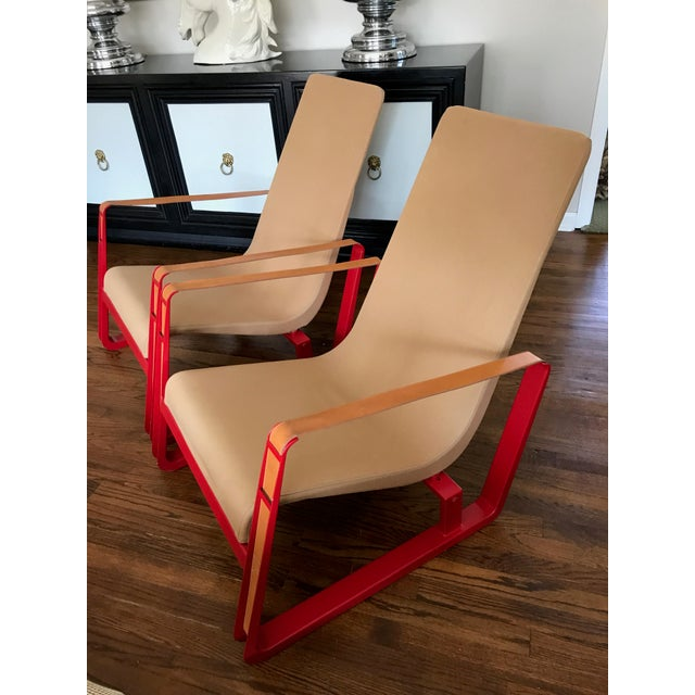 Jean Prouve for Vitra Cite Lounge Chair With Steel Frame and Leather Buckles- Pair For Sale In New York - Image 6 of 13