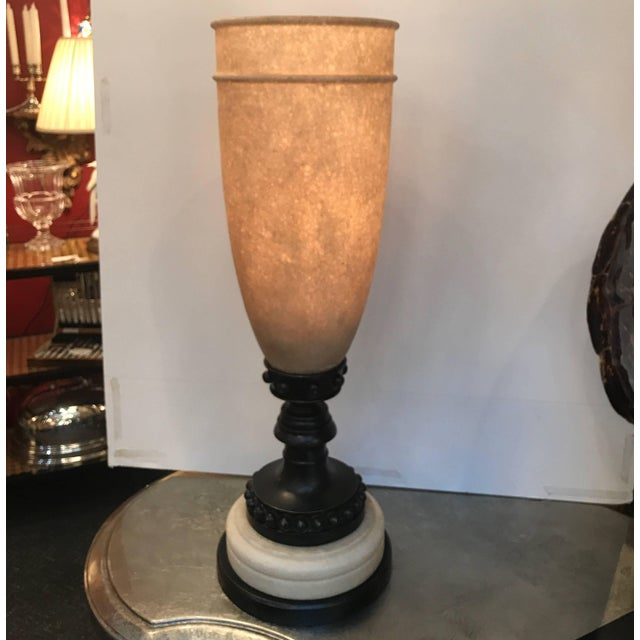 Tan 1990s Theodore Alexander Alabaster and Bronze Tourchere Table Lamp For Sale - Image 8 of 11