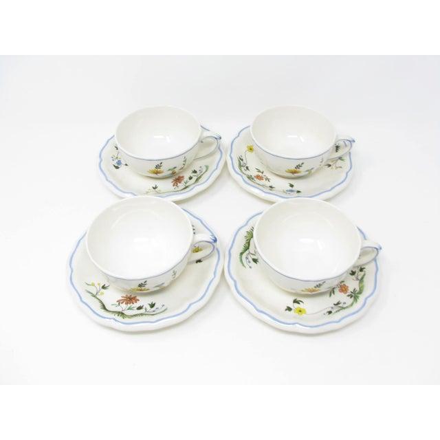 White Vintage Oiseau De Paradis by Faiencerie De Gien Cups & Saucers - 4 Sets For Sale - Image 8 of 13