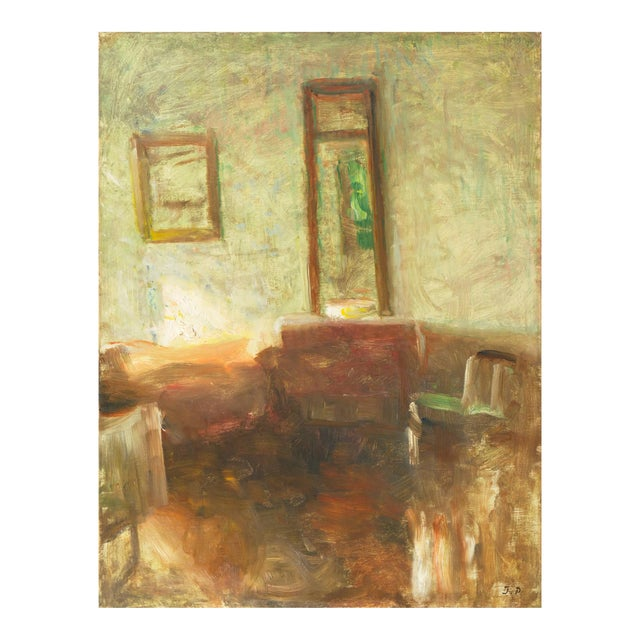 'Interior With Mirror' by Julius Paulsen, Paris Salon, Royal Danish Academy, Impressionist Oil, Benezit For Sale