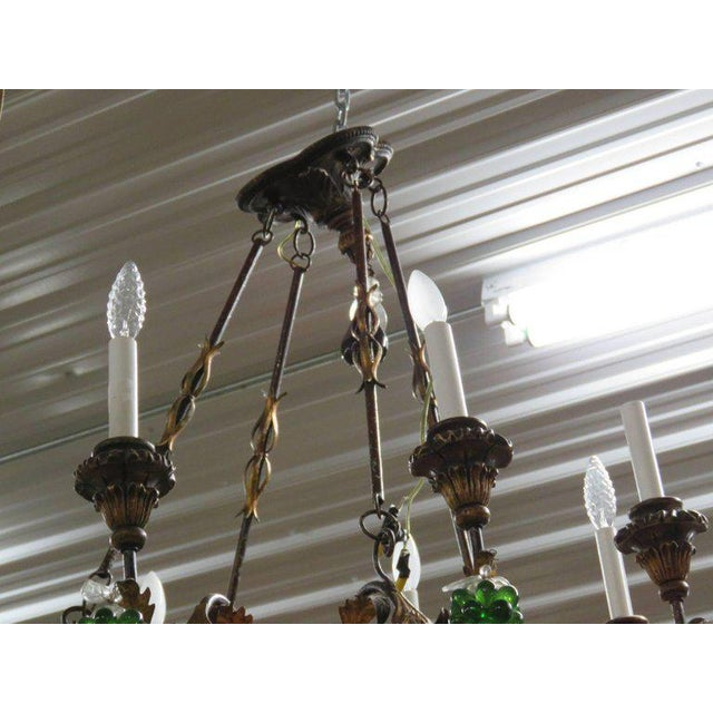Italian Tole and Crystal Chandelier For Sale - Image 4 of 8