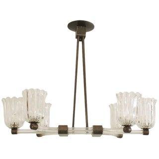 1940s Italian Murano Glass Bronze Chandelier by Barovier E Toso For Sale