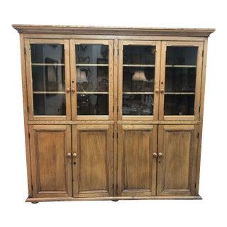 Antique Irish Pine Display Cabinet For Sale