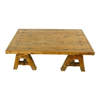 Rustic Pottery Barn Pine Coffee Table For Sale