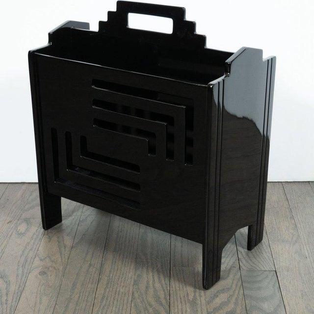 Art Deco Machine Age Skyscraper Style Black Lacquer Magazine Holder For Sale - Image 4 of 7