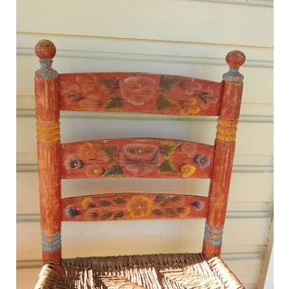 Vintage Painted Mexico Folk Art Rush Seat Chairs - a Pair Preview