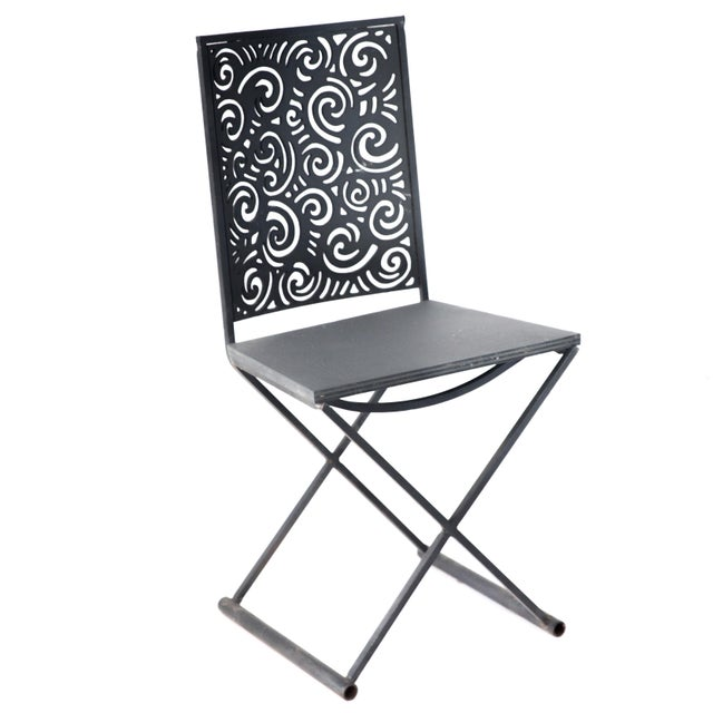 Contemporary Artisan Torch Cut Iron/Steel Chairs - Set of 4 For Sale - Image 3 of 10