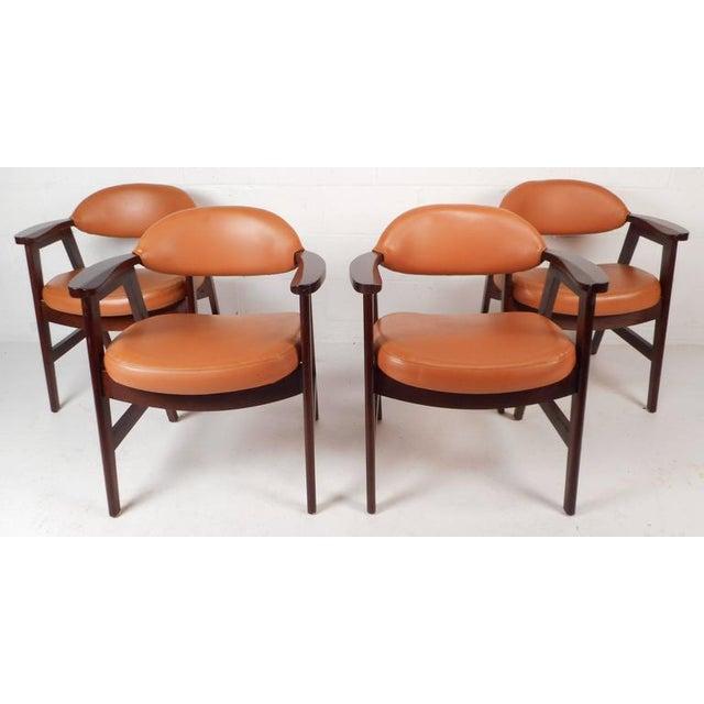Mid-Century Modern Vinyl Dining Chairs - Set of 4 - Image 2 of 8