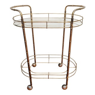 Faux Bamboo Oval Racetrack Bar Cart on Casters For Sale