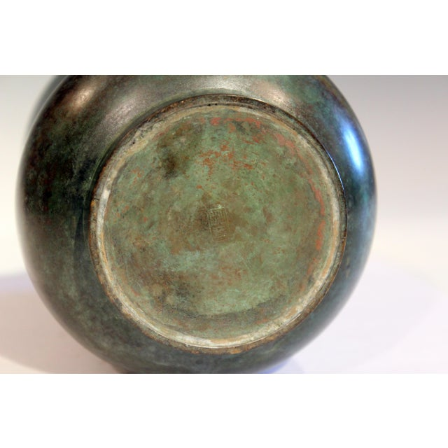 Vintage Bronze Old Japanese Patinated Verdigris Vase For Sale In New York - Image 6 of 11
