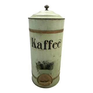 19th Century German Green Painted Tole and Brass Coffee Bean Container With Dispenser Valve For Sale