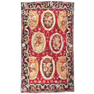 Antique Karabagh Red and Beige Wool Rug With Floral Cartouches - 5′6″ × 9′7″ For Sale