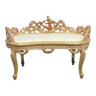 Hollywood Regency Carved & Gold Gilded Bench For Sale
