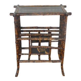 Antique Victorian Tortoise Shell Bamboo Japanned Magazine Rack For Sale