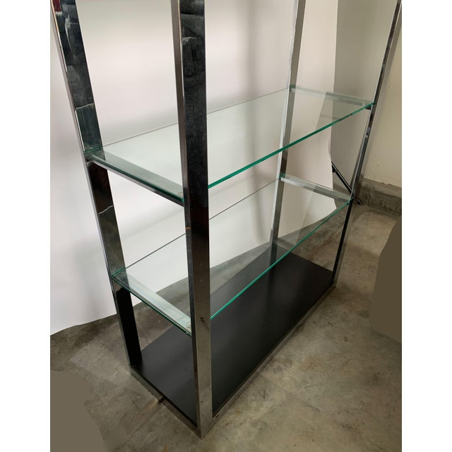 1970s Chrome Etagere With Glass Shelves For Sale - Image 5 of 8
