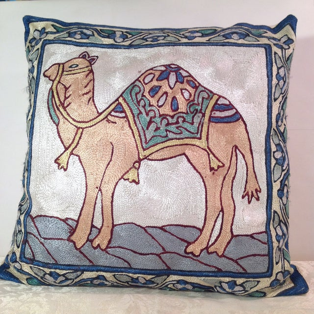 Silk Embroidered Ari Pillows - A Pair - Image 3 of 11