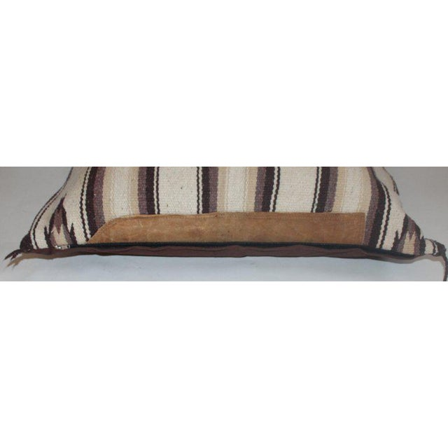 Boho Chic Navajo Indian Weaving Saddle Blanket Pillow With Leather Trim For Sale - Image 3 of 9