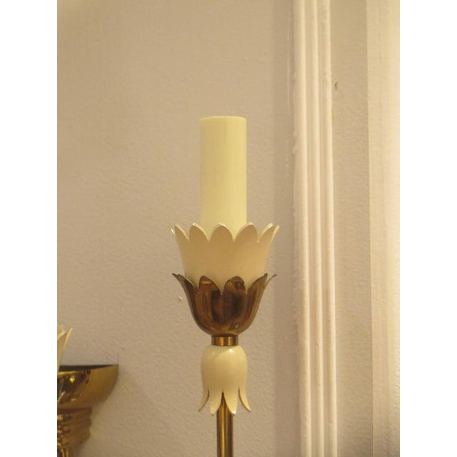 Pair of Mid-Century Italian Brass Sconces with Four Arms For Sale - Image 4 of 6
