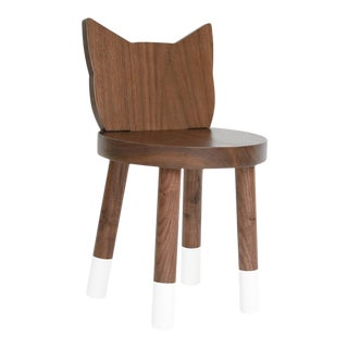 Kitty Kids Chair in Walnut With White Finish For Sale