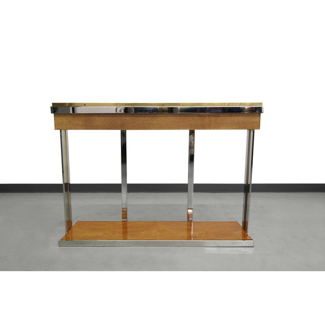 Willy Rizzo Mid-Century Italian Burl Wood Console - Image 8 of 8
