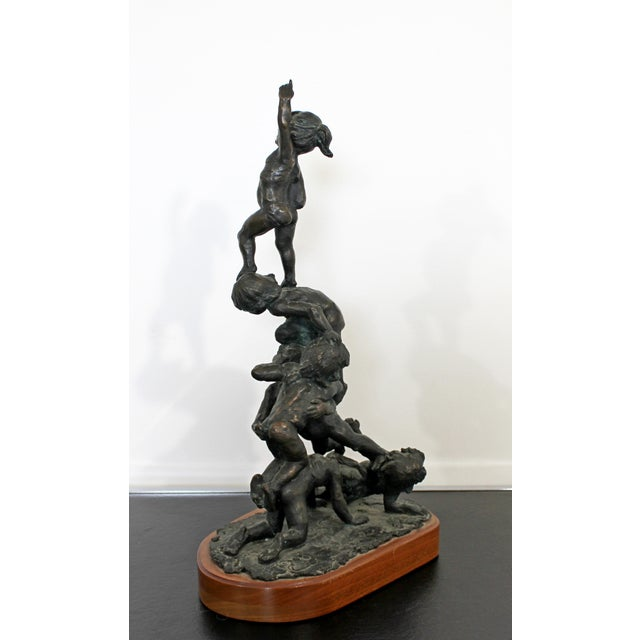 1970s Mid Century Modern Bronze Table Sculpture Signed Edward Chesney 1972 For Sale - Image 5 of 10