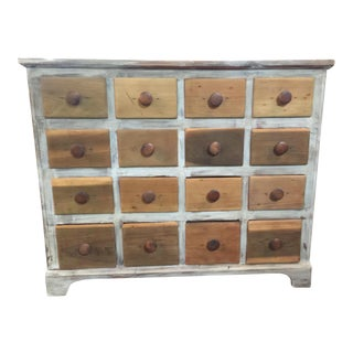 Vintage Rustic 12 Drawer Wooden Chest For Sale