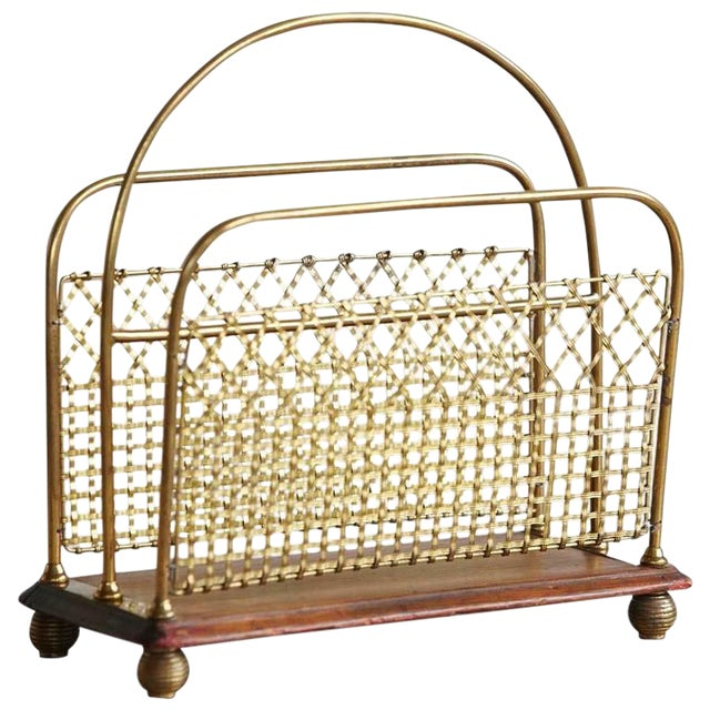 19th Century Aesthetic Movement Woven Brass Canterbury For Sale