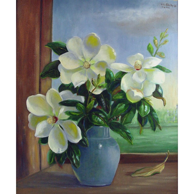 Magnolia Still Life Painting by Lila Shelby For Sale - Image 4 of 4