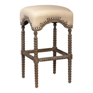 Carved Leg Upholstered Bar Stool For Sale