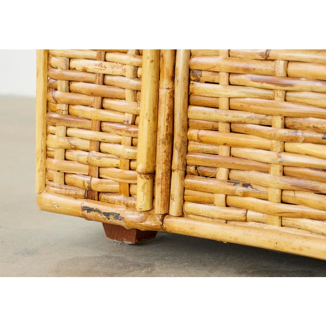 Tan Ralph Lauren Woven Rattan Sofa With Blue Ombre Upholstery For Sale - Image 8 of 13