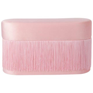 Pouf Pill Large Pink in Velvet Upholstery With Fringes For Sale