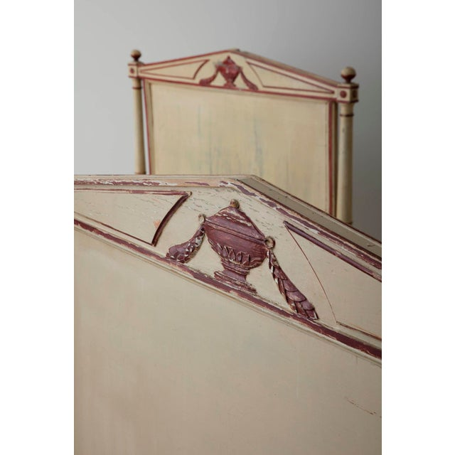 Traditional 19th Century French Pair Of Directoire Style Twin Bed Frames In Original Paint For