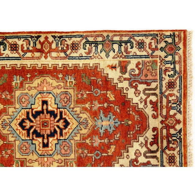 Indo Serapi design rug. Handmade Hand-knotted in fine lambswool. Lamb's Wool on a Cotton Foundation Vegetable Dyed Hand-...