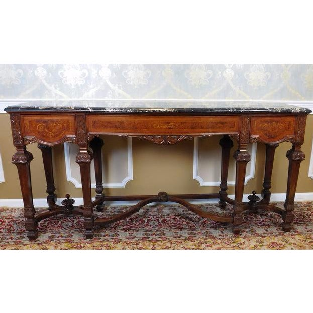 Italian Rococo Carved Mahogany Marble Top Console - Image 2 of 10
