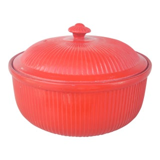 Hall Chinese Red Ribbed Covered Casserole For Sale