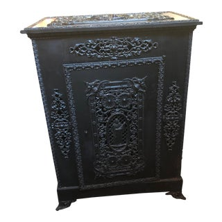 Antique Victorian Ornate Black Cast Iron Radiator Cover For Sale