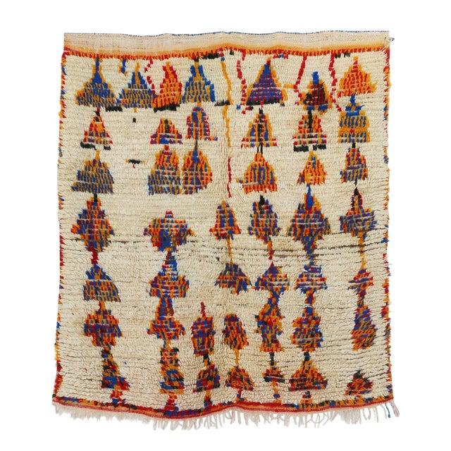 "Vintage Azilal Moroccan Berber Rug - 4'2"" x 4'9"" For Sale"