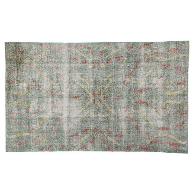 Distressed Vintage Turkish Sivas Rug with Art Deco Style For Sale - Image 4 of 5