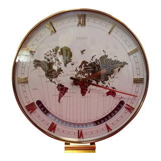 Mid-Century Kienzel World Table Clock on Stepped Brass Base