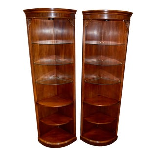 Chippendale Drexel Chinese Style Lighted Mahogany Corner Displays - a Pair For Sale