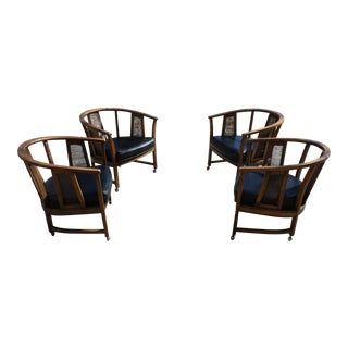 Mid-Century Barrel Back Cane Chairs - Set of 4
