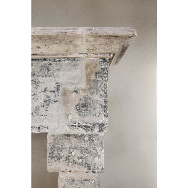 Antique Limestone Fireplace of French Limestone, Campagnarde Style For Sale - Image 6 of 9